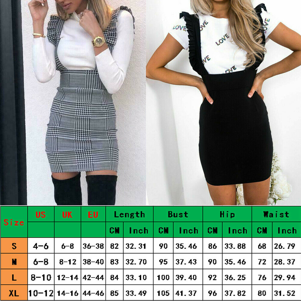 Fashion Women Dress Check Dog Tooth Frill Ruffle Pinafore High Waist Bodycon Party Mini Dress Holiday