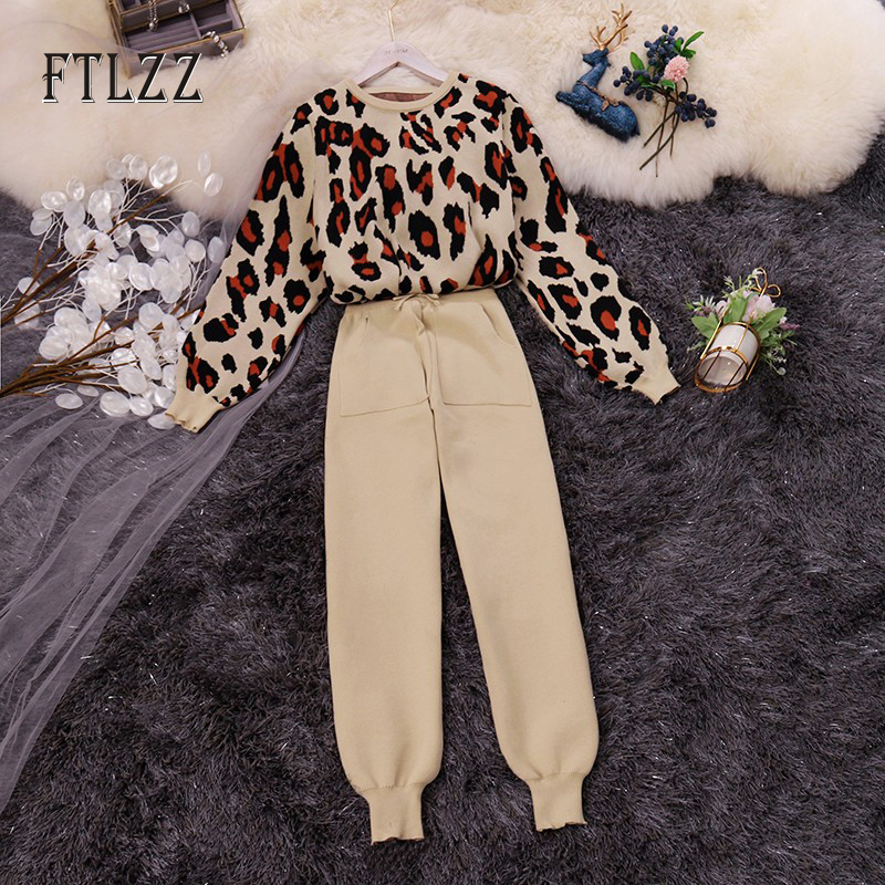 Woman Vintage Leopard Sweater Tracksuits Outfit New Spring Autumn Pullover And Pants Knit Two Piece Set Women Sportsuits  Mujer