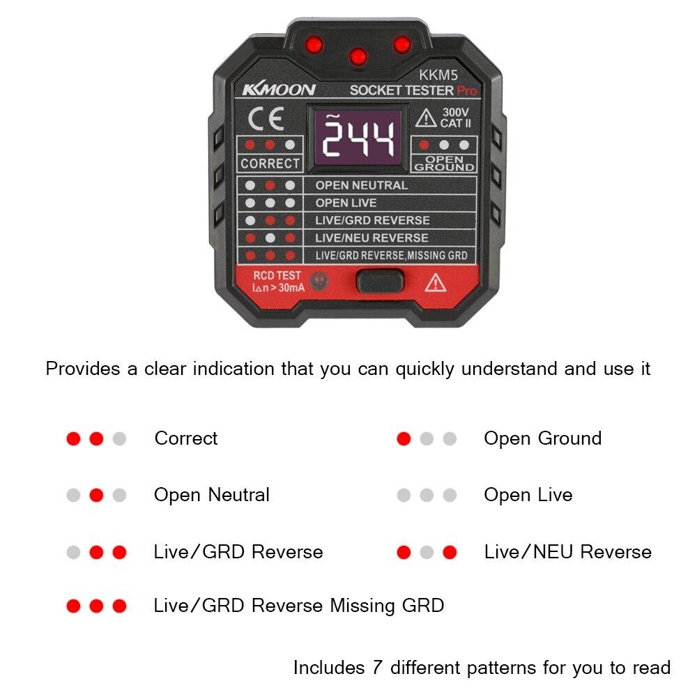 Probador de enchufes KKmoon Probador de tomacorrientes GFCI con pantalla de voltaje 90-250V Probador de enchufe Circuito el/éctrico autom/ático Polaridad Detector de voltaje Buscador de disyuntor