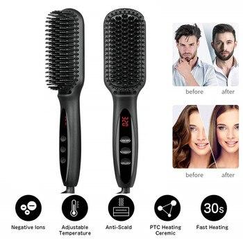 Electric Hair Straightening Comb Quick Beard Straightening Comb for Man Beard Straightener Brush Styling Comb Heat Brush фото