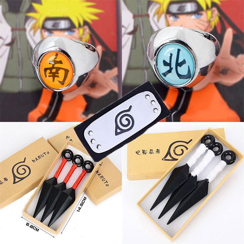 Anime NARUTO Cosplay Props Uchiha Itachi Uchiha Sasuke Uzumaki Naruto Akatsuki Headband Ring Darts Shuriken Toy Model