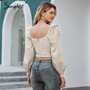 Image 4 - Simplee Ruffled off shoulder women crop tops Autumn elegant button lantern sleeve female tops Party wear ladies casual tops 2019