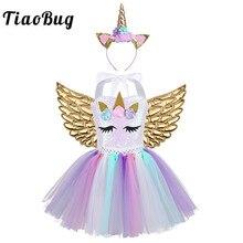 TiaoBug الاطفال الكرتون الزي 3D الزهور الترتر شبكة توتو اللباس الشعر هوب الملاك أجنحة مجموعة الفتيات هالوين تأثيري زي