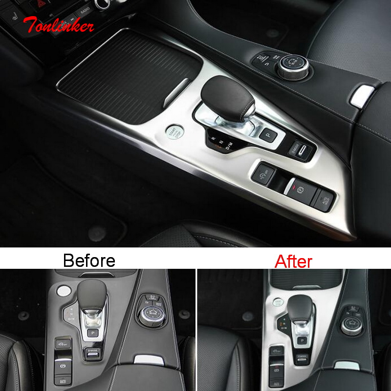 Tonlinker Interior Car Gear Panel Cover Case Stickers For INFINITI QX50 2018-20 Car Styling 1 PCS Stainless Steel Cover Sticker