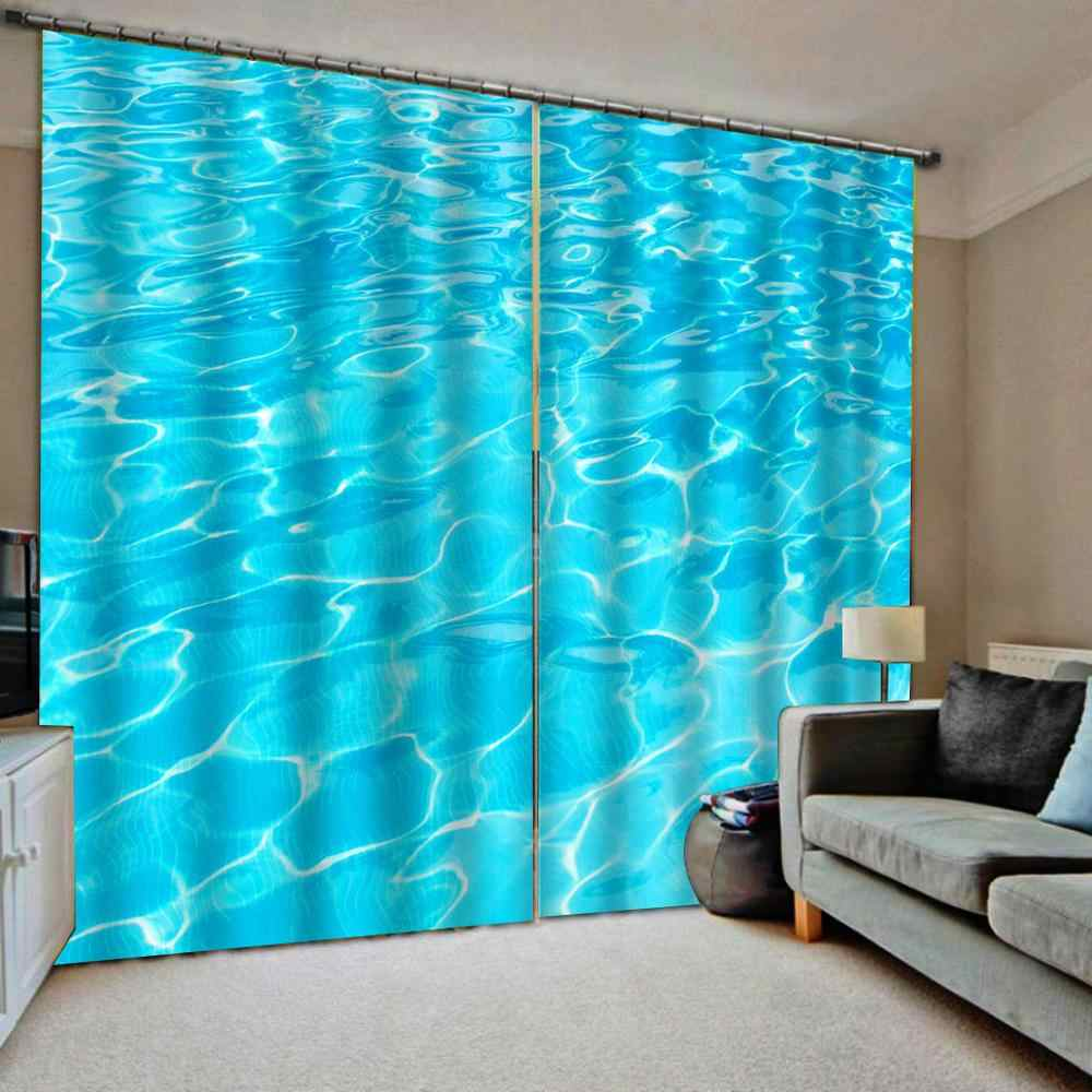 Blackout curtain 3D Curtains Living Room Bedroom Drapes Cortinas Customized size  blue water curtains