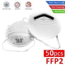50 Uds. Máscaras faciales FFP2 KN95 protección antipolvo no tejido 98% filtración tapa bucal seguridad transpirable antibacterias máscaras N95