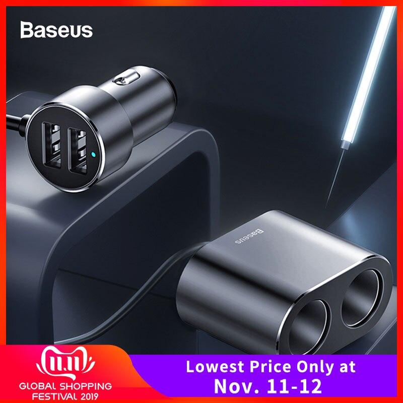 Baseus Car Splitter Cigarette Lighter 12V-24V Dual USB Car Charger Socket 100W Car Auto Splitter Power Adpater For Car USB HUB