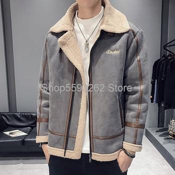 Season 2020 Tide brand lambskin cotton-padded jacket men plus velvet warm Joker cotton-padded jacket jacket men