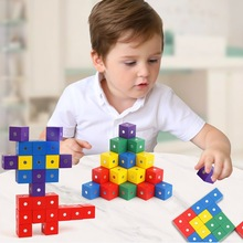 2cm Magnet Cube Wood block Toys Children Magnetic DIY Model Building For Kids Educational Math Gift
