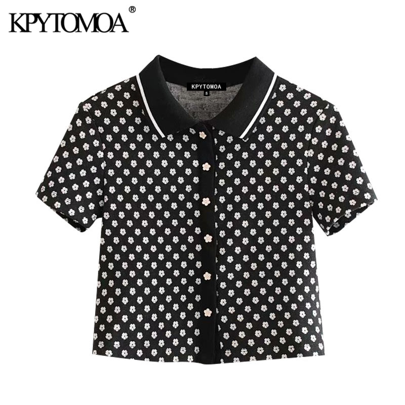 KPYTOMOA Women 2020 Fashion Floral Pattern Knitted Cropped Blouses Vintage Lapel Collar Short Sleeve Female Shirts Chic Tops