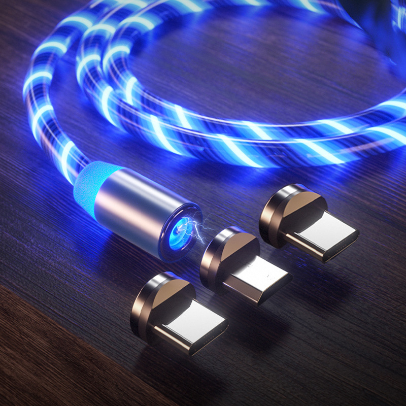 Kabel magnetyczny Micro USB Light LED podświetlany kabel USB typu C magnetyczny przewód ładujący do telefonu iPhone Samsung przewód do telefonu komórkowego