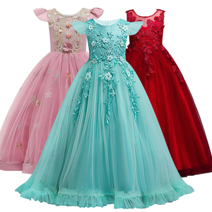 4-14 Yrs Lace Teenagers Kids Girls Wedding Long Girl Dress elegant Princess Party Pageant Formal Dress Baby Children's dress