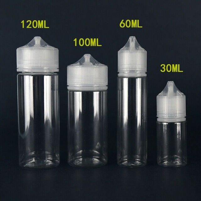 새로운 5pcs 30ml/60ml/100ml/120ml 애완 동물 플라스틱 빈 Dropper E 액체 눈 맑은 물 병 긴 팁 캡 주스 오일 Vape 펜 병
