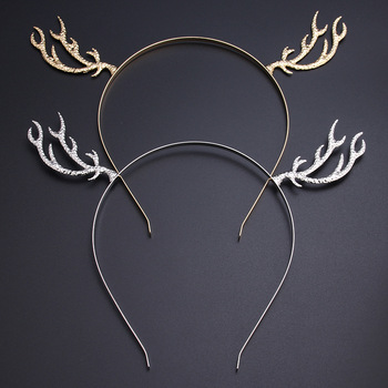 Elk Antlers Golden Alloy Head Bands Creative Girls Women Headbands Hair Styling Tools Christmas Party Accessory