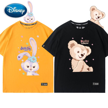 Disney Chic Fashion Duffy Bear StellaLou Rabbit Cartoon Print O-Neck Women T-Shirt Unisex Couples Tee Short Sleeve Tops 6 Colors