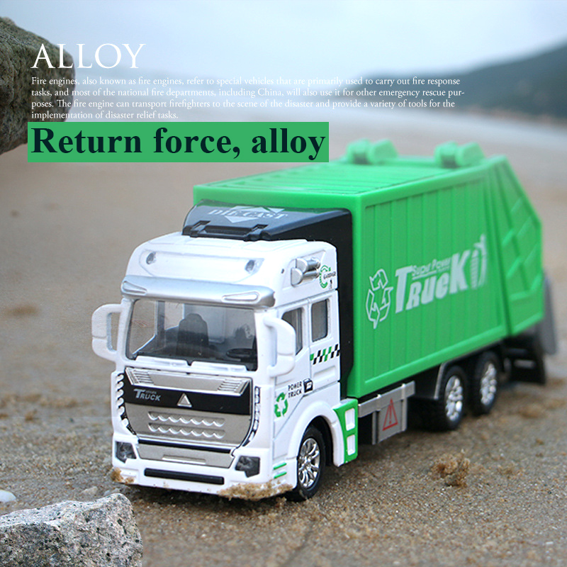 Mini 1:48 Scale Garbage Truck Diecasts & Toy Vehicles Model High Simulation Garbage Inertia Cars Model Collection Toys For Kids