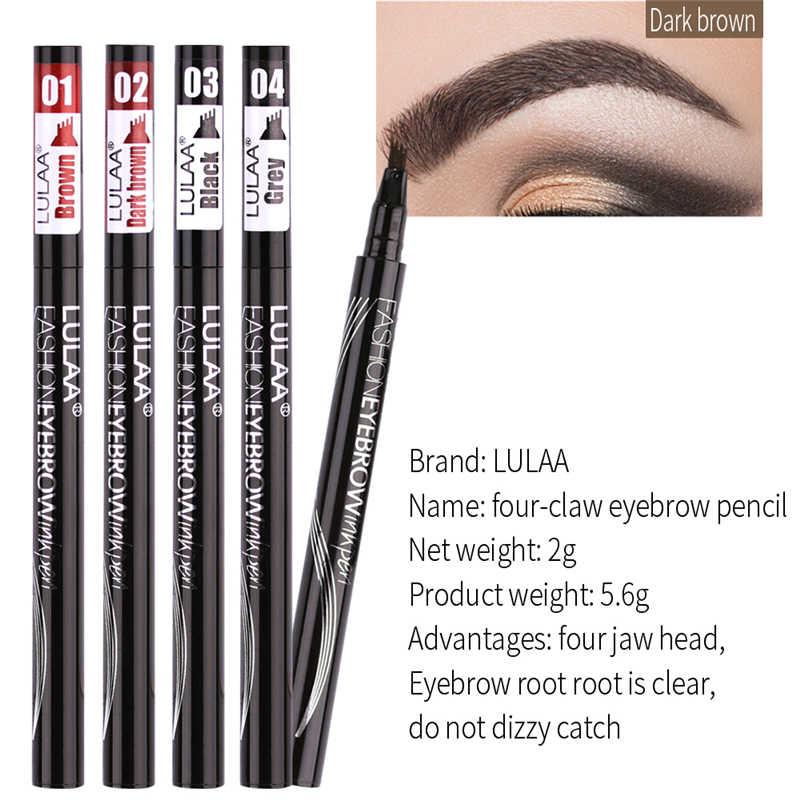 À prova dwaterproof água natural sobrancelha caneta quatro-garra olho sobrancelha matiz maquiagem quatro cores sobrancelha lápis marrom preto cinza escova cosméticos