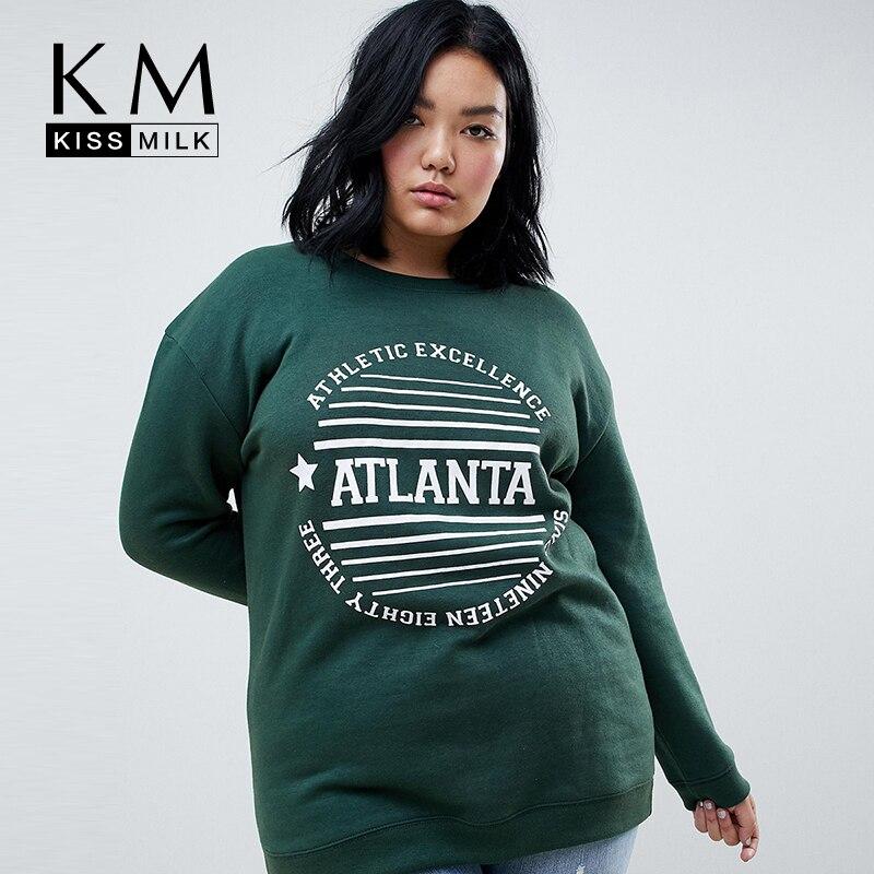 Kissmilk Plus Size Women Casual Knitted Full Regular Letter Pullovers O-Neck