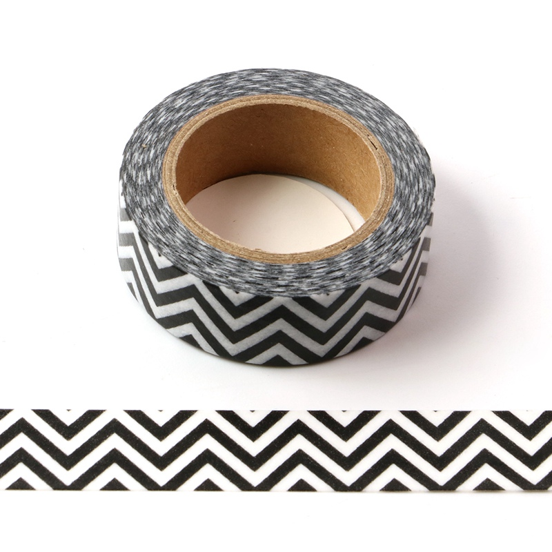 10M Decorative Black And White Zig Zag Washi Tape DIY Scrapbooking Sticker Label Japanese Masking Tape School Office Supply