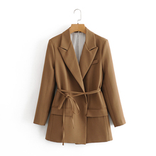 2020 women fashion long brown za blazer with blet female summer casual long slee