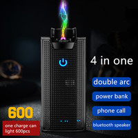 2019 Double Arc Plasma Lighter USB 4 in one bluetooth speaker smart display power bank Lighters friend Gifts