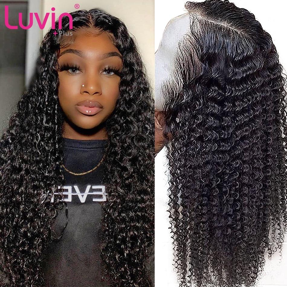 Глубокая волна 150 плотность короткие и длинные кружевные передние человеческие волосы парики предварительно выщипанные бразильские вьющи...