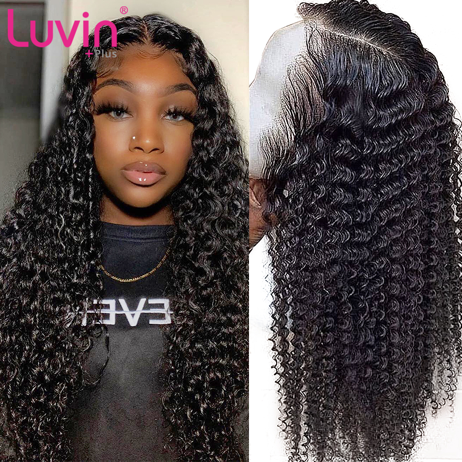 Deep Wave 180 Density Short and long Lace Front human <font><b>hair</b></font> Wigs Pre Plucked Brazilian Water Curly <font><b>Hair</b></font> Frontal Wigs image