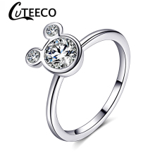 Cuteeco 2019 Women Cute Silver Plated Mickey Shaped Rings Wedding Fashion Jewelry Cartoon Mouse Pan Brand Ring