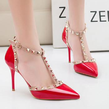 New feminine sexy thin heel high heel shallow mouth pointed head rivet hollowed-out word high heel sandals female high heels