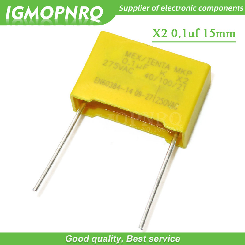 20pcs 100nF Capacitor X2 Capacitor 275VAC Pitch 15mm X2 Polypropylene Film Capacitor 275V 0.1uF
