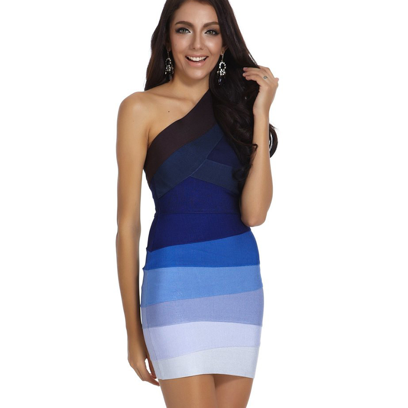 Cheap Wholesale HL One Shoulder Blue Ombre Bandage Dress 2018 New Arrivals Sexy Bodycon Cocktail Rayon Mini Party Dresses Women in Dresses from Women 39 s Clothing