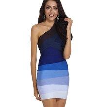 Cheap Wholesale HL One Shoulder Blue Ombre Bandage Dress 2018 New Arrivals Sexy Bodycon Cocktail Rayon Mini Party Dresses Women