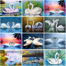 Swan diy 5d diamond painting full round drill animal embroidery
