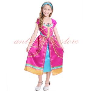 Image 2 - Aladdin Costume Jasmine Dress Pink Fuchsia Outfit For Kids