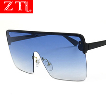 ZT Oversize Flat Top Square Sunglasses Women Visor Shield Glasses Semi-Rimless Gradient Acetate Sun One Piece Lens