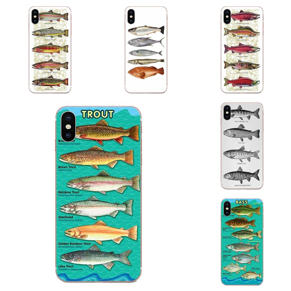 Five Trout Panel Painting Fish Art For Samsung Galaxy Note 5 8 9 S3 S4 S5 S6 S7 S8 S9 S10 5G mini Edge Plus Lite Back Phone Case
