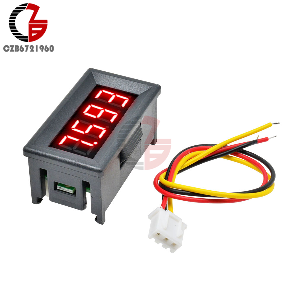4 Digit 0-100V DC LED Digital Voltmeter 4 Bit 3 Wire Car Motorcycle Voltage Meter Lithium Battery Volt Tester Detector Monitor