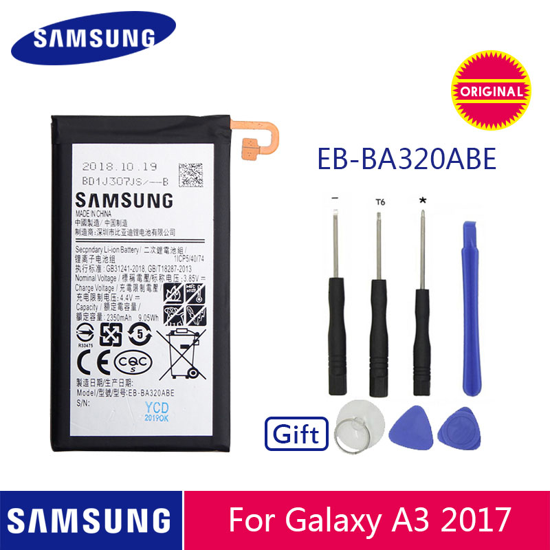 SAMSUNG Original Phone Battery EB-BA320ABE 2350mAh For Samsung Galaxy A3 2017 SM-A320 A320F Replacement Batteries + Free Tools