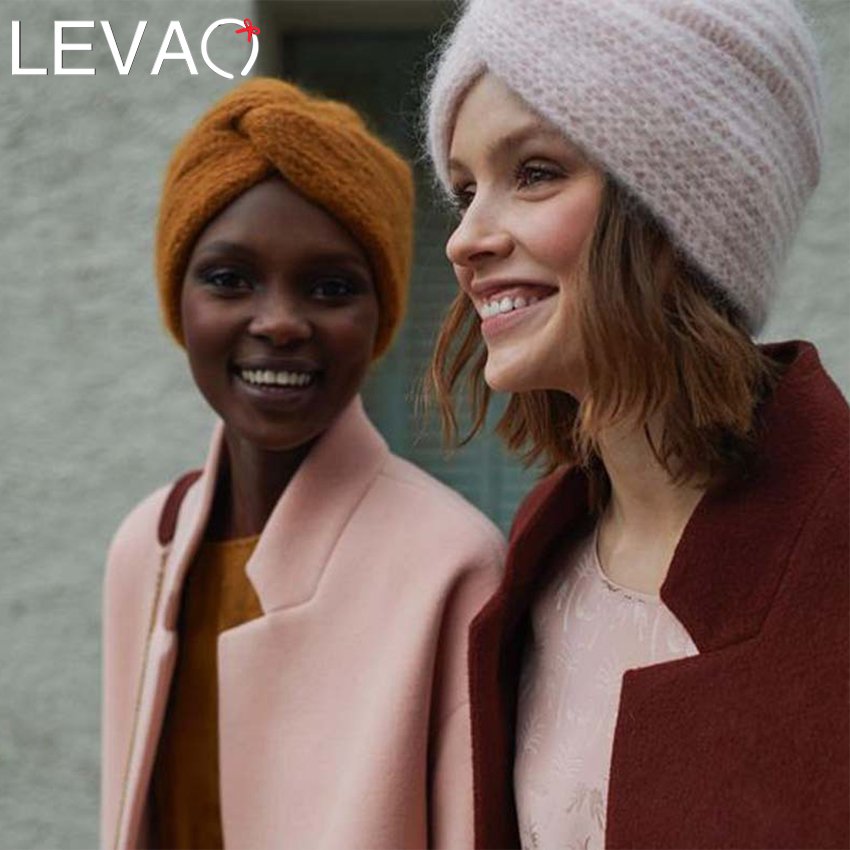 Levao New Winter Warm Knit Turban Cross Twist Arab Hair Wrap Headbands For Women Hair Accessories Knitted Bandanas Headwrap