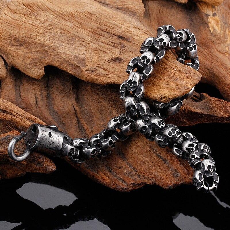WAWFROK hommes mode Bracelet acier inoxydable argent/noir couleur Bracelets pour hommes squelette à la mode/vintage Bracelet Bracelet à breloques - 4