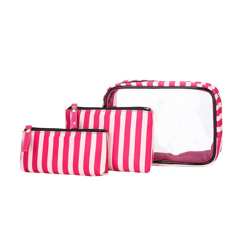 Portable Waterproof Transparent Makeup Bag Fashion Striped Zipper Cosmetic Organizer Women Travel Toiletry Bag
