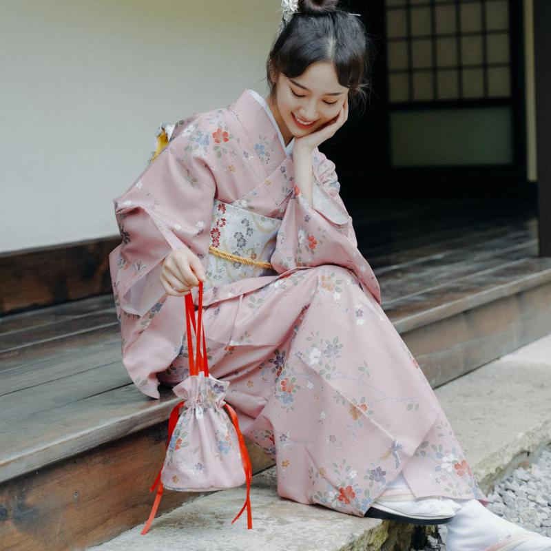 Japanese Traditional Kimono Dress Oriental Elegant Vintage Cosplay Costumes Yukata Sakura Woman New Year Haori Kimono Clothes
