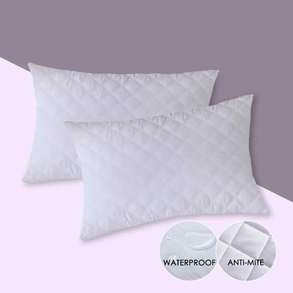 quilted waterproof pillow case anti mites pillow protector for bed bug and bed wetting breathable hypoallergenic cover 2 pc