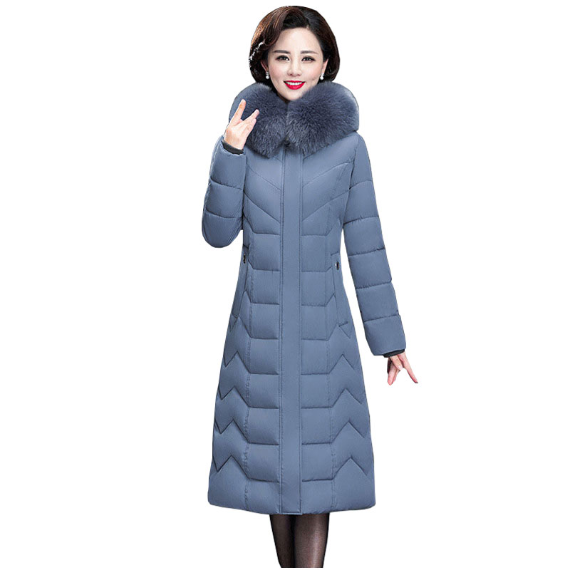 Long Slim Fur Coat Hooded Winter Down Coat Heavy Jacket Thick Warm Oversize Cotton Padded Wadded Parkas Outwear Down Jacket 7XL
