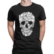 Cat Skull Design Horror T Shirt Halloween Men Short Sleeve Terror T-Shirt Cotton High Quality Round Neck Tees Printing