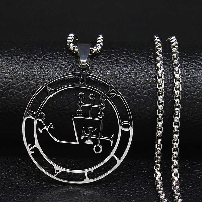 Sigil naszyjnik ze stali nierdzewnej kolor srebrny Goetia pieczęć salomona Demon szatan Sigil Satanic naszyjniki wisiorki biżuteria N304103