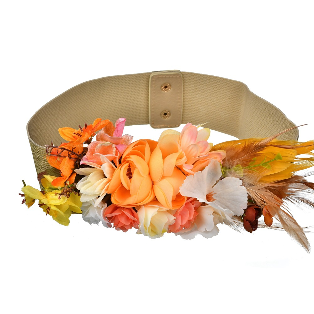 Fashion Women Elastic Wide Corset Belt For Women Glass Crystal Ceinture Ladies Thin Flower Inlaid Belt Waist Girdle BW20