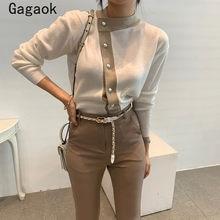 Gagaok senhora do escritório coreano retro malha suéteres 2020 primavera outono novo retalhos o pescoço fino chique selvagem simples pullovers