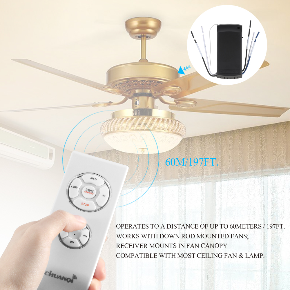Universal Ceiling Fan Light Lamp Timing Speed Controller Switch 220V Wireless Remote Control Kit Transmitter And Receiver