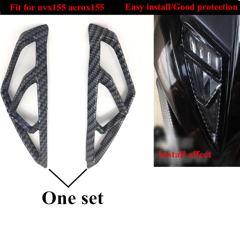 Modified motorcycle nvx155 aerox L155 headlight garnish carbon fiber cover striping for YAMAHA NVX155 L155 ARROX155 new 16-19